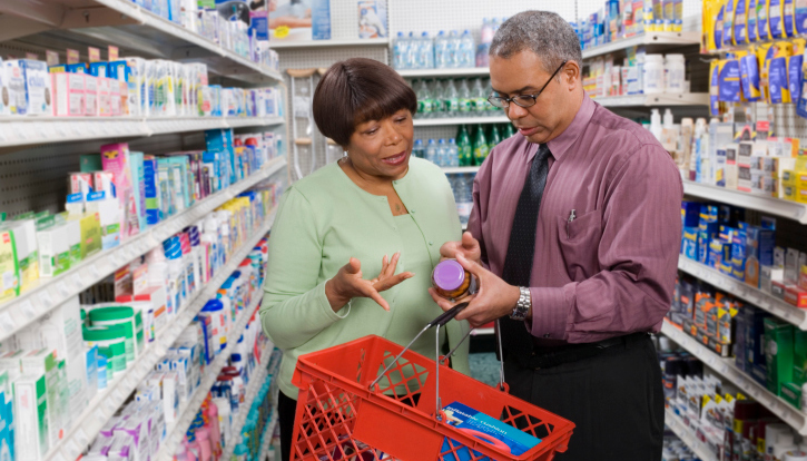 Customers discussing medication