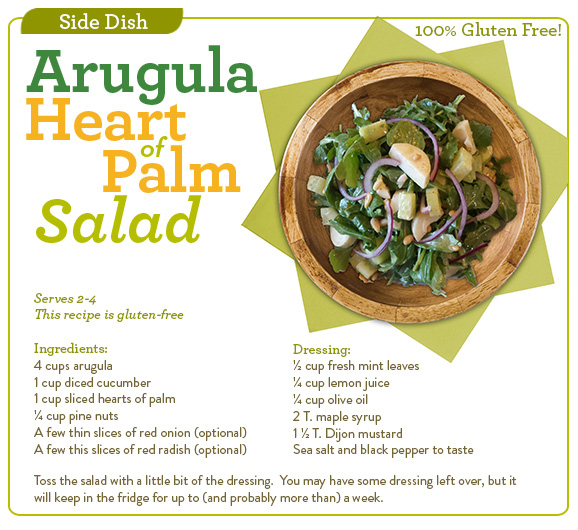 Arugula & Heart of Palm Salad w/ Lemon Mint Dressing