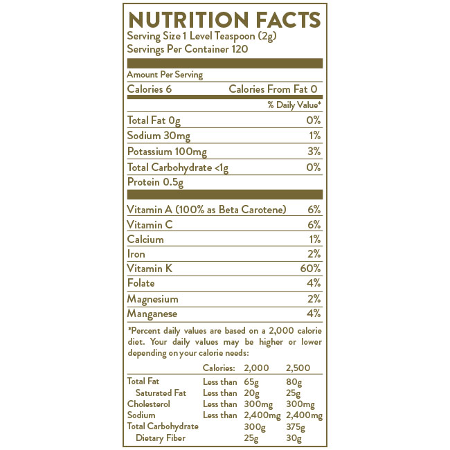 Nutrition label for Hallelujah Diet BarleyMax Original powder