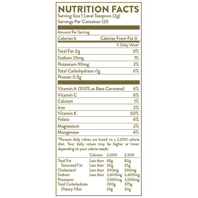 Nurtition Label for Hallelujah Diet BarleyMax Berry flavor powder