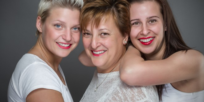 Family with mother and daughters.
