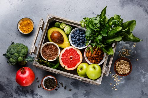 healthy food in wooden box