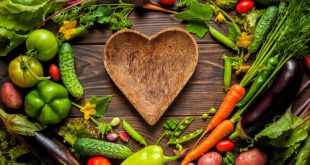 plate heart surrounded by vegetables