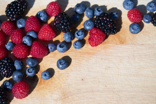 arrangement of berries in natural light