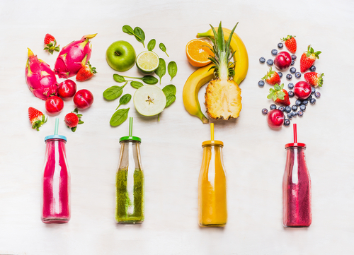 assortment fruit vegetable smoothies