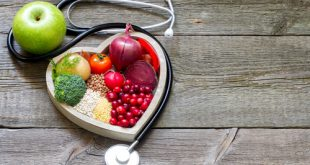healthy food in heart shape