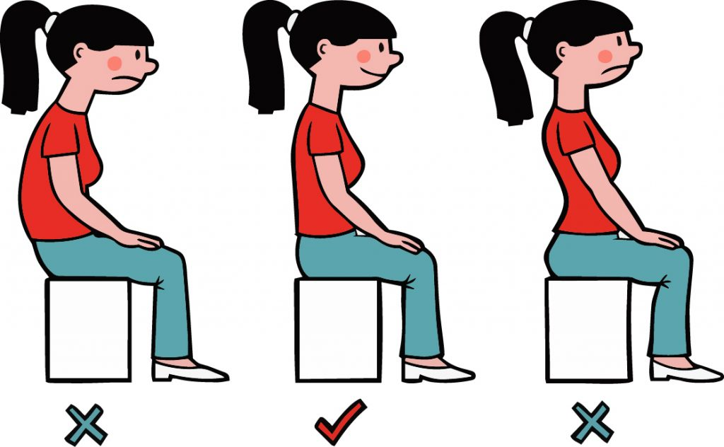illustration of correct sitting posture