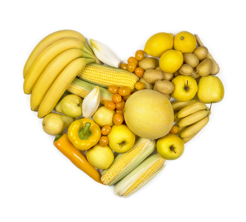 Heart of yellow fruits and vegetables