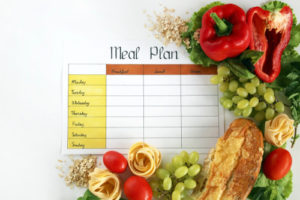 meal plan for a week on a white table
