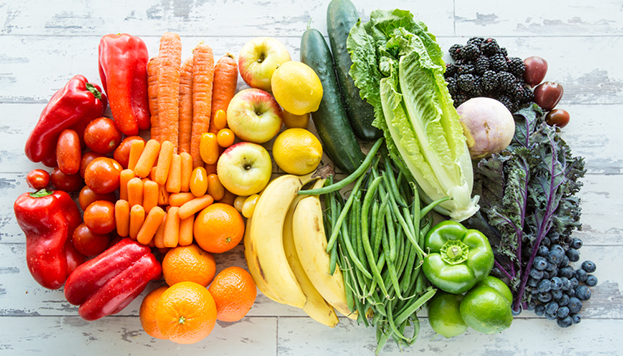 rainbow assortment of fruits and vegetables