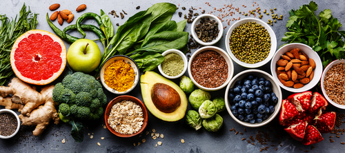 selection of clean eating foods