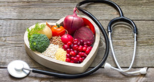 Healthy food in heart