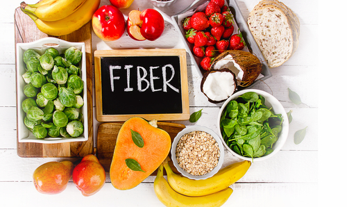 High Fiber Foods on a wooden background