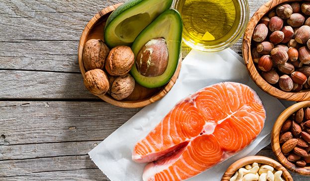 salmon nuts avocado healthy fats