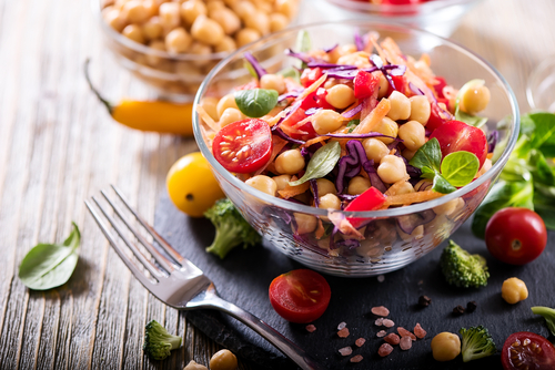 healthy homemade chickpea and veggies salad