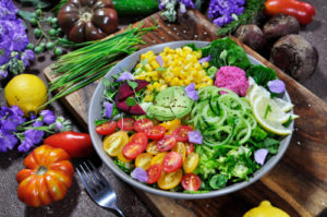 salad with colorful array of vegetables