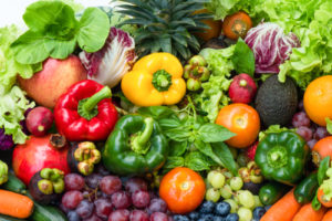 tropical fruits and vegetables selection
