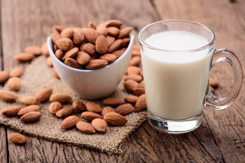 glass of almonds with milk