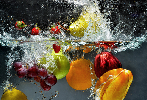 splashing fruits in water