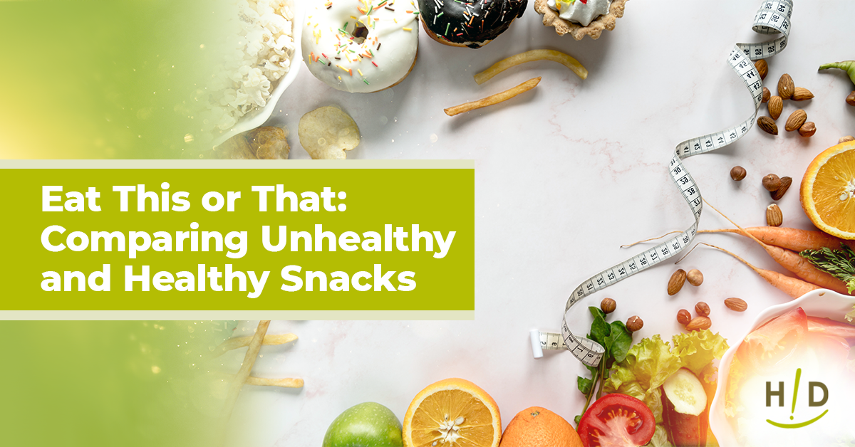 Eat This Or That Comparing Unhealthy And Healthy Snacks