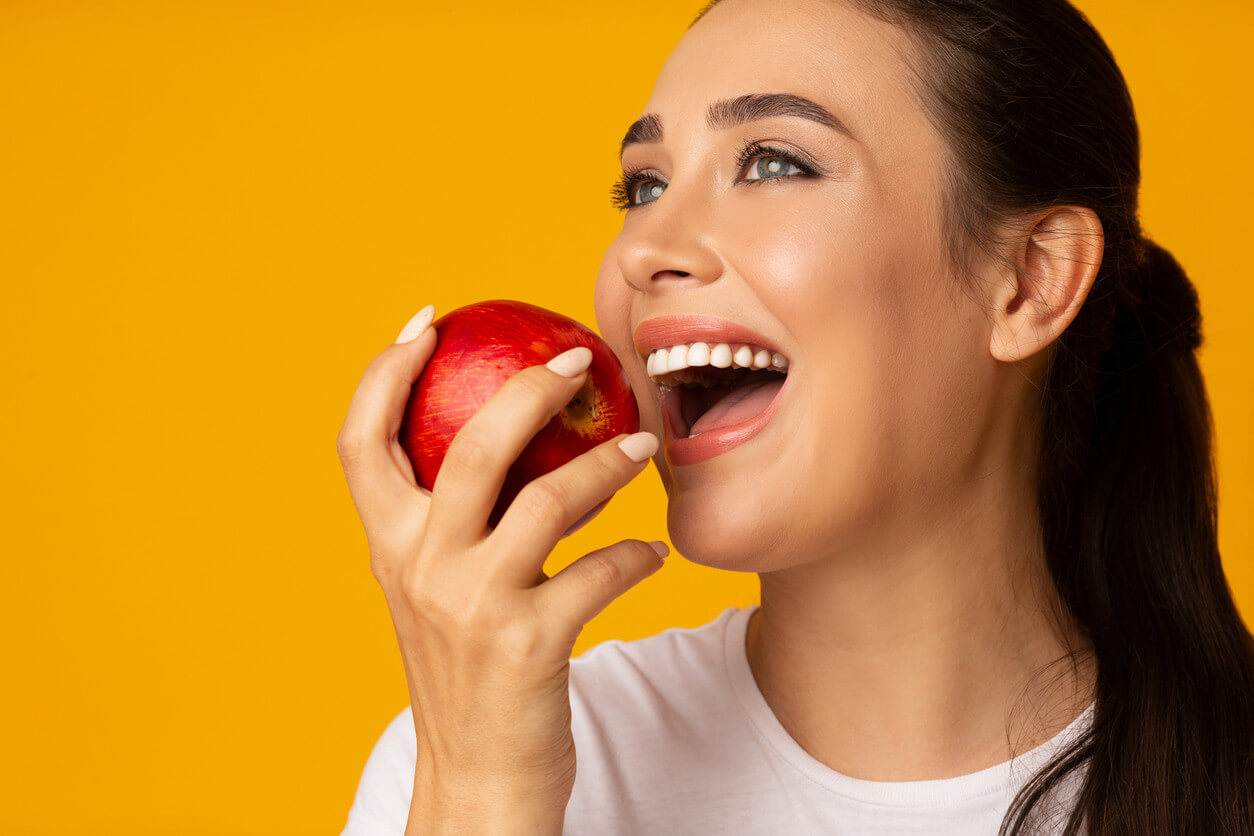 woman eating an